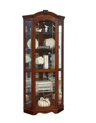 20671 Corner Curio with Carved Medallion  Adjustable Glass Shelves  Halogen Lighting and Mirrored Back in Cherry