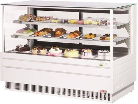 Turbo Air TCGB72UFWN Display and Merchandising Refrigerator White, TCGB72UFWN Angled View