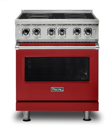 Viking Professional 5 VER5304BAR Freestanding Electric Range Red, Front view