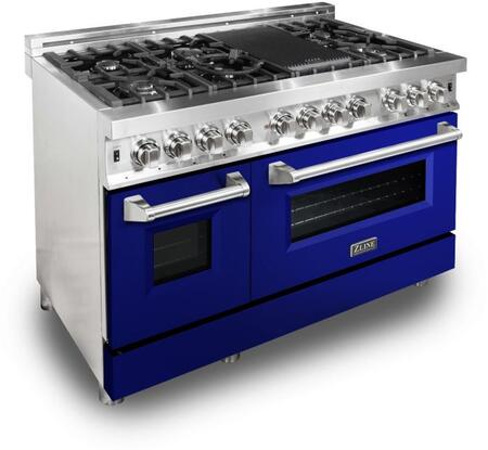"""RA48T 48"""" Blue Gloss Professional Natural Gas Dual Fuel Range with 6 Italian Burners 6 cu. ft. Capacity Oven Griddle Convection Cast Iron Grates"""