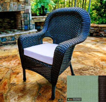 Sea Pines Collection LEX-DC-T-RAVES Dining Chair in Tortoise Wicker and Rave Spearmint Fabric