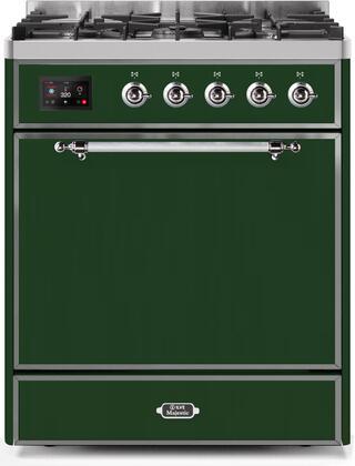 Ilve Majestic II UM30DQNE3EGCLP Freestanding Dual Fuel Range Green, UM30DQNE3EGCLP-Front-CD-A