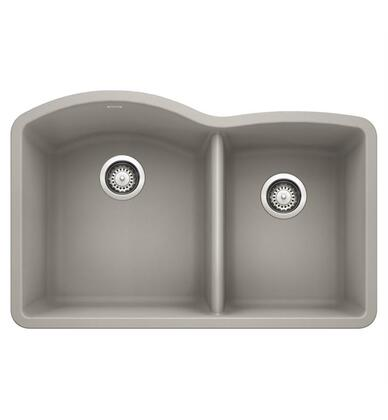 Diamond 442745 Silgranit Undermount Sink Bowl with Low Divide  in Concrete