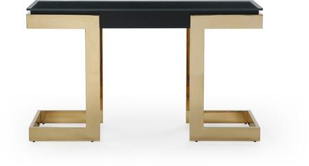 Sumo Collection CO1658-BLK 52″ Console with 10mm Glass Top  Black High Gloss Connector  Rectangular Shape  Modern Style and Stainless Steel Frame in