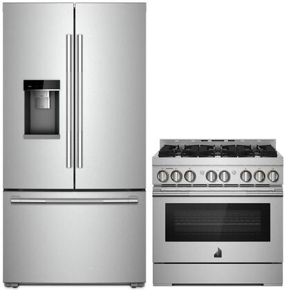 """2 Piece Smart RISE Series Kitchen Appliances Package with JFFCC72EHL 36"""" French Door Refrigerator and JGRP436HL 36"""" Gas Range in Stainless"""