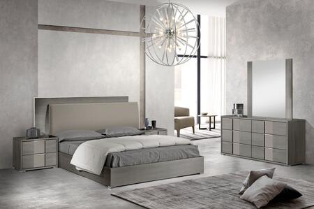 Milo Italia Portofino PORTOFQN5PCSETAMGR42 Bedroom Set Gray, Main Image