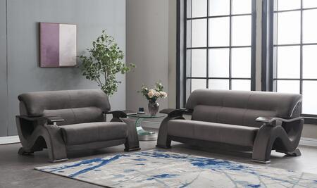 U2033-GREY-SL 2-Piece Living Room Set with Velvet Sofa and Loveseat in