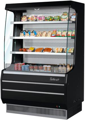 Turbo Air TOM40MBN Display and Merchandising Refrigerator Black, TOM40MBN Angled View