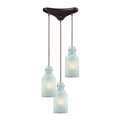 45345/3 Weatherly 3 Light Triangle Pan Pendant in Oil Rubbed Bronze with Chalky Seafoam