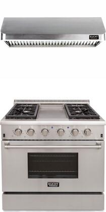 """Professional Series 2 Piece Kitchen Appliances Package with KRG3609U 36"""" Natural Gas Range (4 Burner and Griddle) and KRH3602U 36"""" Push Button"""