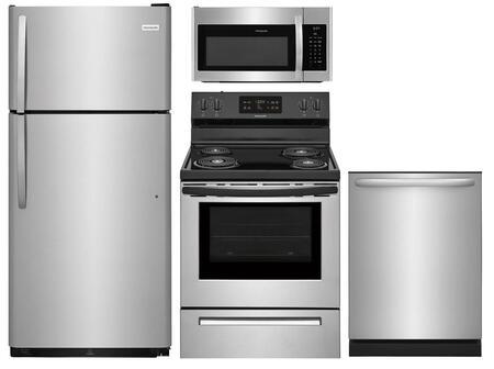 "4-Piece Kitchen Appliance Package with FFTR1821TS 30"" Top Freezer Refrigerator FFEF3016VS 30"" Freestanding Electric Range FFMV1645TS 30"""