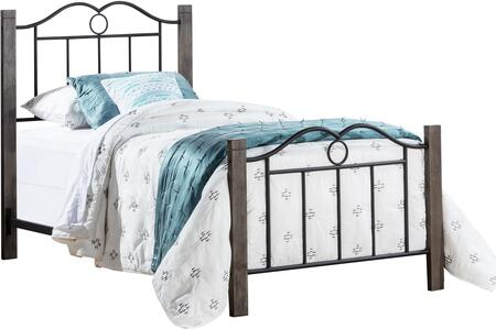 Dumont Collection 2590-330 Metal Twin Bed with Double Arched Scroll Design  minimal spindles and Wood Posts in Textured Black and Brushed