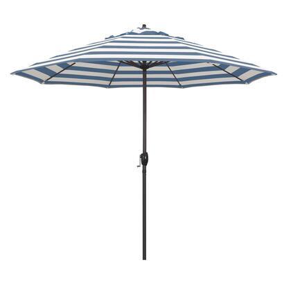 Casa Collection ATA908117-58029 9′ Patio Umbrella With Bronze Aluminum Pole Aluminum Ribs Auto Tilt Crank Lift With Sunbrella 2A Cabana Regatta
