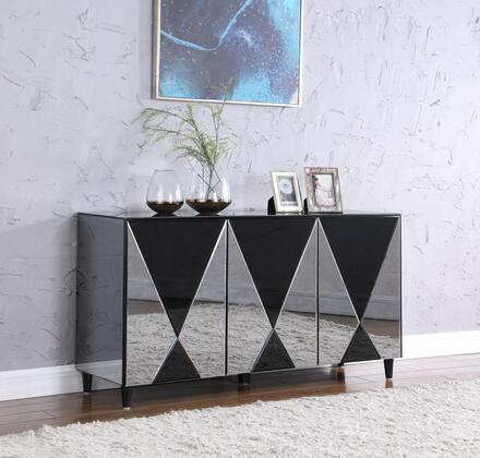 DOREEN-BUF Contemporary Mirror-Front Buffet with Mirrored Cabinet and Wooden Back in Gloss