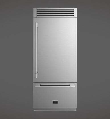 "F7PBM36S1-R 36"" Sofia Professional Bottom Freezer Refrigerator with LED Lighting Flexzone Ice Maker 2 Glass Shelves 14.7 cu. ft Refrigerator"