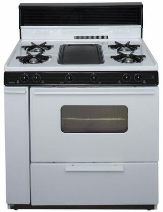 Premier  BLK5S9WP Freestanding Gas Range White, A Front View of the Range