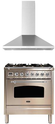 2 Piece Kitchen Appliances Package with UPN76DMPIX 30″ Dual Fuel Gas Range and BRAVO30 30″ Wall Mount Convertible Hood in Stainless