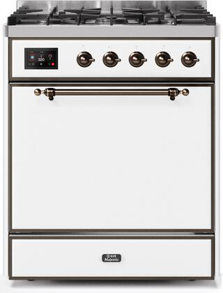 Ilve Majestic II UM30DQNE3WHB Freestanding Dual Fuel Range White, UM30DQNE3WHBNG-Front-CD-A