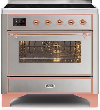 Ilve Majestic II UMI09NS3SSP Freestanding Electric Range Stainless Steel, UMI09NS3SSP-Front-CD-A