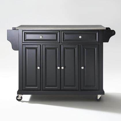 Full Size Kitchen Collection KF30002EBK Full Size Stainless Steel Top Kitchen Cart in Black