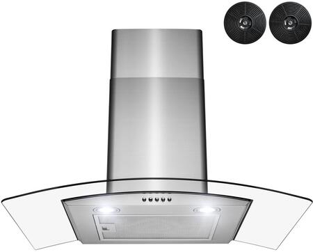 RH0454 30″ Wall Mount Range Hood with 299 CFM  Mesh Filter  LED Lighting  Glass Canopy  Carbon Filters and Push Button Controls in Stainless