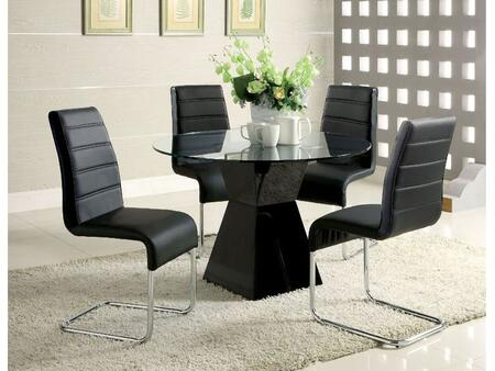 Furniture Of America Mauna Collection Cm8371bktdt4sc 5 Piece Dining Room Set With 45 Inch Round Dining Table And 4x Side Chair In Black Appliances Connection