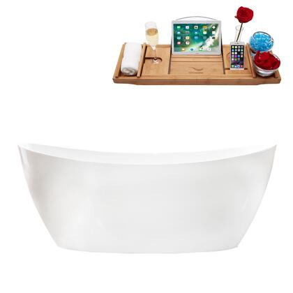 M-2100-59FSWH-FM 59″ Soaking Freestanding Tub and tray With Internal Drain in