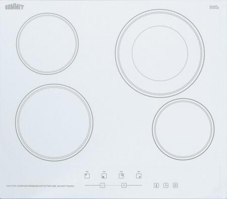 Summit CR4B23T6W Electric Cooktop White, CR4B23T6W Electric Cooktop