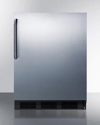 """CT663BKSSTB 24"""" Compact Refrigerator with 5.1 cu. ft. Capacity Full Width Freezer Compartment Cycle Defrost Dual Evaporator Door Storage Wine"""