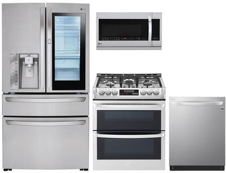 4 Piece Kitchen Appliances Package with LMXS30796S 36″  French Door Refrigerator  LTG4715ST 30″ Slide-in Gas Range  LMHM2237ST 30″ Over the Range