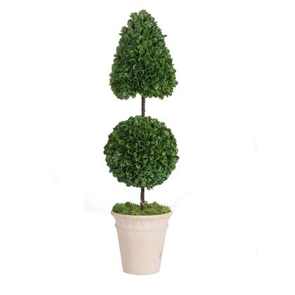 2391-DS Pre-Light Faux Boxwood Cone/Ball Topiary Small In