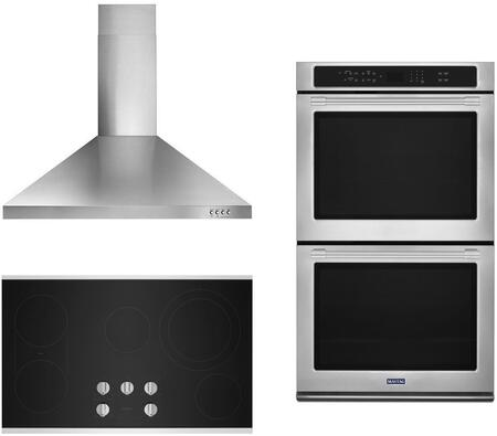 3 Piece Kitchen Appliances Package with MEW9630FZ 30″ Electric Double Wall Convection Oven  MEC8836HS 36″ Electric Smoothtop Cooktop and WVW53UC6FS