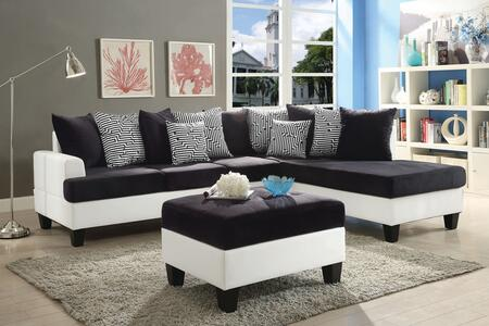 Glory Furniture Domino G220SCO Living Room Set Black, 2 PC Set