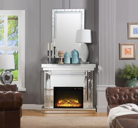 Acme Furniture Nysa 90272SET Fireplace Silver, Fireplace and Mirror