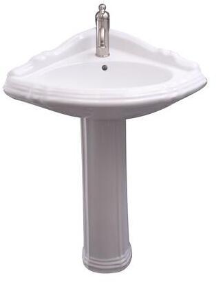 3-3021WH Ethan Corner Pedestal Lavatory  1 Faucet Hole