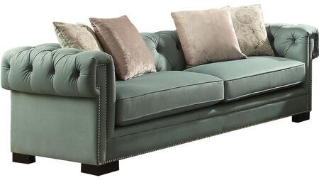 Acme Furniture Eulalia 54145 Stationary Sofa Blue, 1