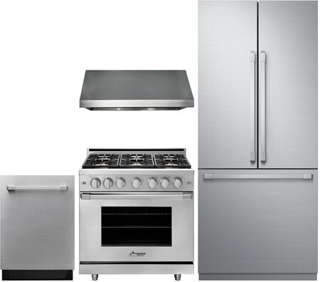 4 Piece Kitchen Appliances Package with DRF367500AP 36″ French Door Refrigerator  HGPR36SNG 36″ Gas Range  HWHP3618S 36″ Wall Mount Hood and