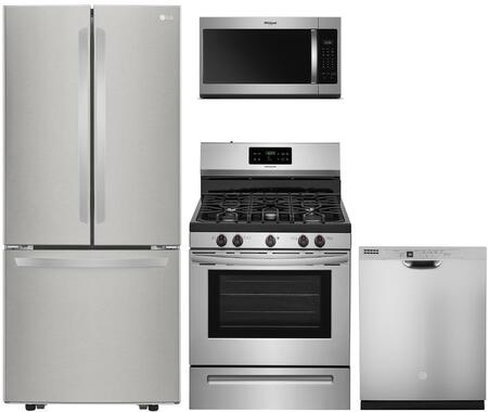 """4 Piece Kitchen Appliances Package with LFCS22520S 30"""" French Door Refrigerator FFGF3054TS 30"""" Gas Range WMH31017HS 30"""" Over the Range Microwave"""