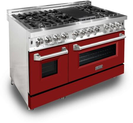 """RA-RM-48 48"""" Red Matte Professional Natural Gas Dual Fuel Range with 6 Italian Burners 6 cu. ft. Capacity Oven Griddle Convection Cast Iron"""