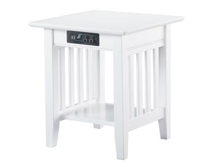 Atlantic Furniture Mission AH14212 End Table White, AH14212 SILO 30