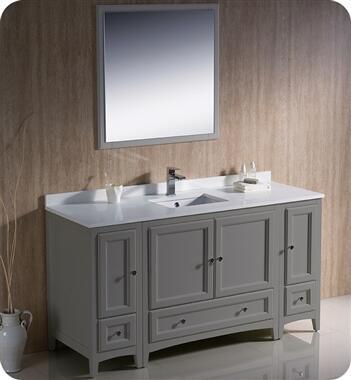 Oxford Collection FVN20-123612GR 60″ Grey Traditional Bathroom