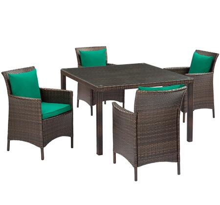 Conduit Collection EEI-3893-BRN-GRN-SET  5 Piece Outdoor Patio Wicker Rattan Set with Powder-Coated Aluminum Frame  Synthetic PE Rattan Weave and