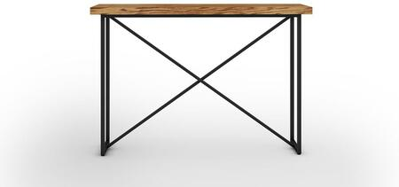 Signature Home Collection FT48ICTHO X Console Table with Textured  Powder Coated Metal Frame  Thick MDF Top and Easy Assembly in Honey