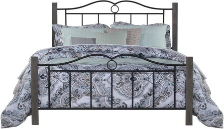 Dumont Collection 2590-500 Metal Queen Bed with Double Arched Scroll Design  minimal spindles and Wood Posts in Textured Black and Brushed