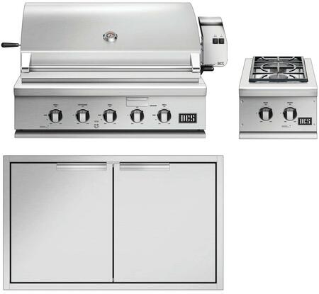 3 Piece Outdoor Kitchen Equipment Package with BH136RN 36″ Built-In Natural Gas Grill  BGC132BIN 15″ Gas Side Burner and ADN120X36 36″ Access Door in