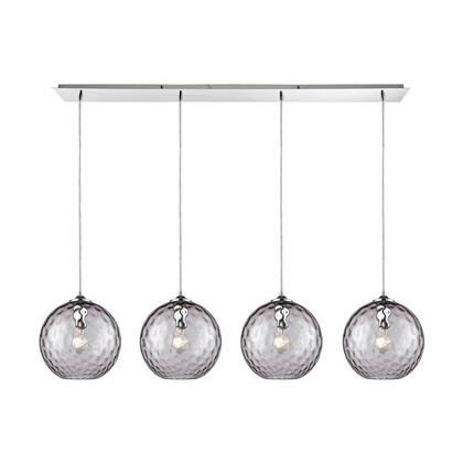 31380/4LP-PRP Watersphere 4 Light Linear Pan Fixture in Polished Chrome with Purple Hammered