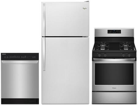 3 Piece Kitchen Appliances Package with WRT318FMDM 30″ Top Freezer Refrigerator  WFG510S0HS 30″ Gas Range and WDF550SAHS 24″ Built In Full Console