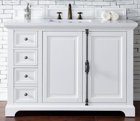 Providence Collection 238-105-V48-CWH-3ODSC 48″ Single Vanity Cabinet  Cottage White  with 3 CM Santa Cecilia Top with Oval
