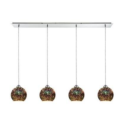 10517/4LP Illusions 4-Light Linear Pan in Polished Chrome with 3-D Starburst Glass