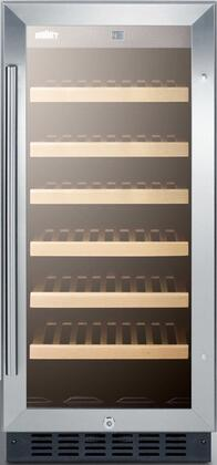 Summit SWC1535B Wine Cooler 26-50 Bottles Stainless Steel, SWC1535B Front View